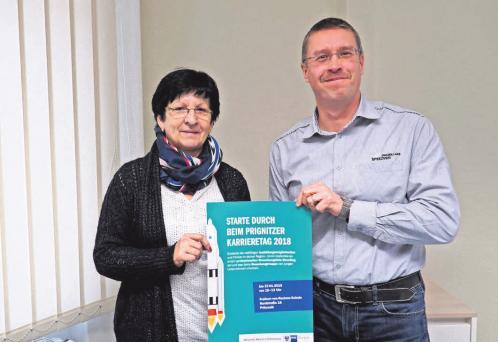 Kirsten Gmirek und René Georgius bereiten den Prignitzer Karrieretag vor. FOTO: ANDREAS KÖNIG